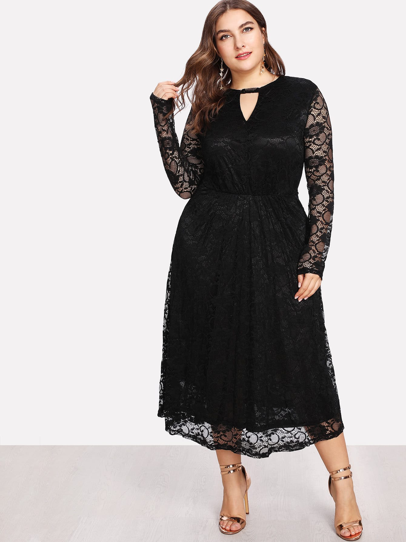 Keyhole Front Fit And Flare Lace Dress zip back fit and flared plaid dress