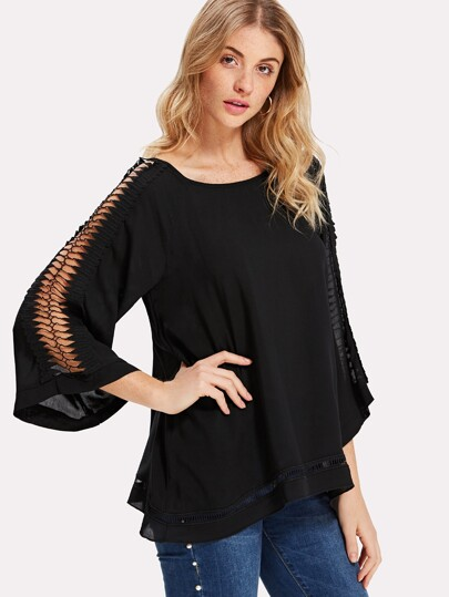 Lace Embellished Sleeve Solid Top
