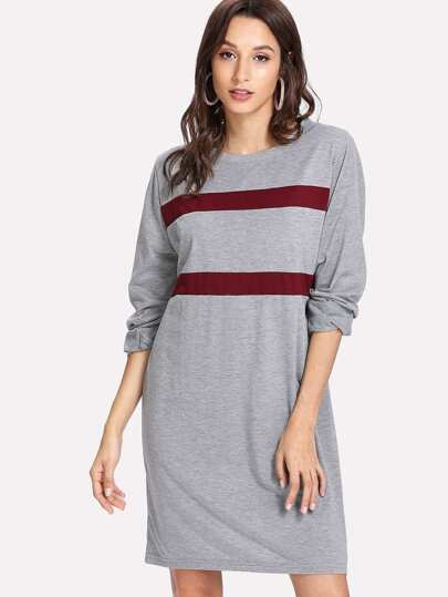 Contrast Panel Heathered Dress