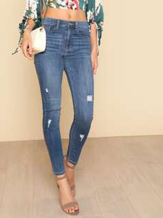 Mid Rise Distressed Slim Fit Jeans BLUE