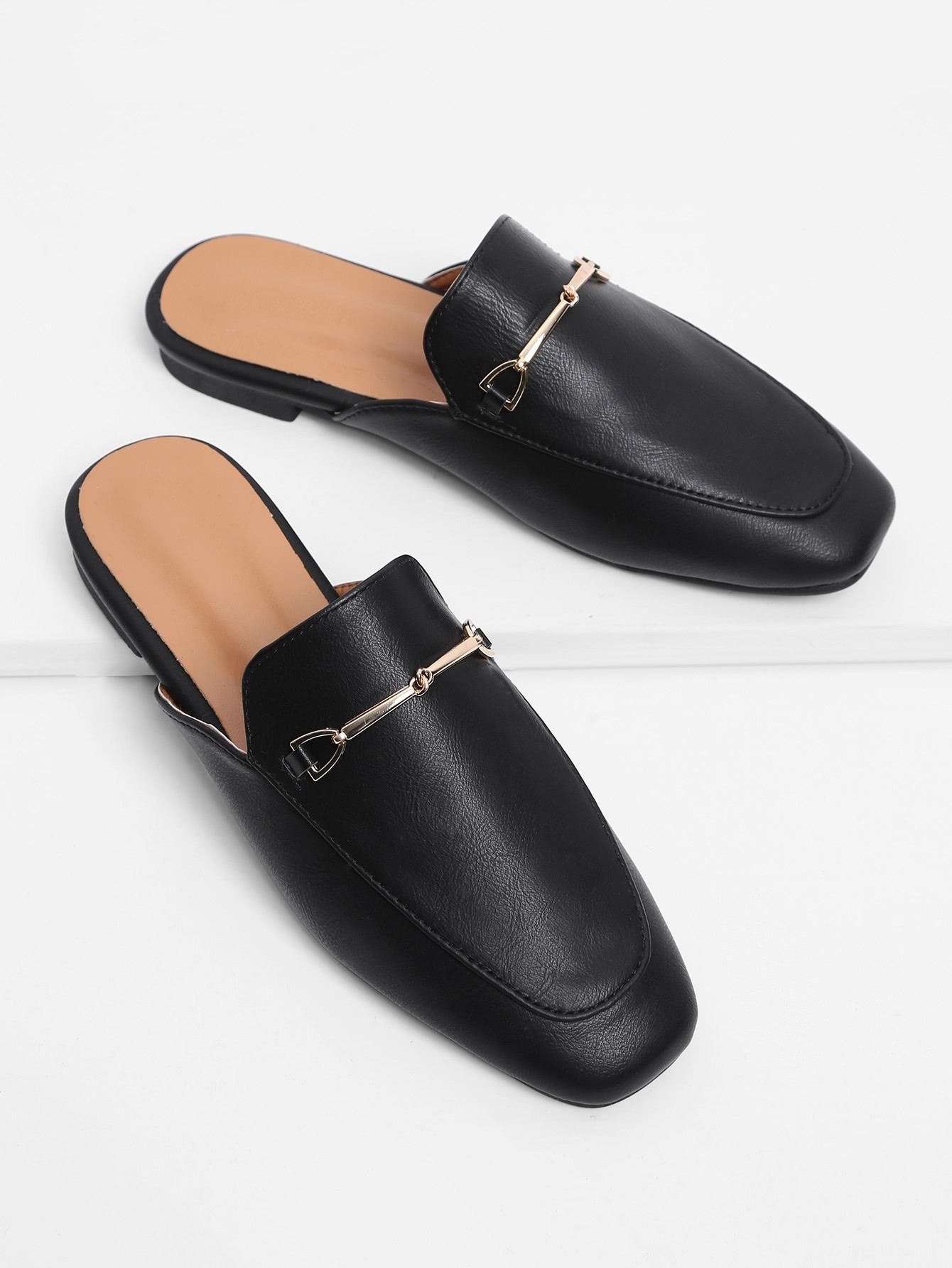 Metal Detail Square Toe PU Flats beautoday loafers women top quality brand flats genuine leather metal decorated square toe calfskin shoes mix colors 15701