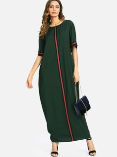 Striped Panel Longline Tunic Dress