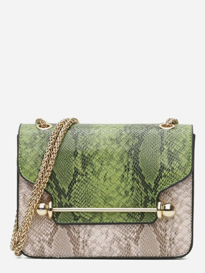 Color Block Snakeskin Print Chain Bag