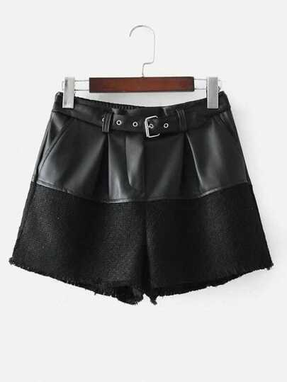 PU Spliced Buckle Belt Shorts