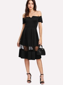 Bardot Mesh Insert Skater Dress