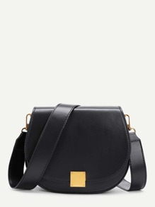 Metal Detail Saddle PU Bag