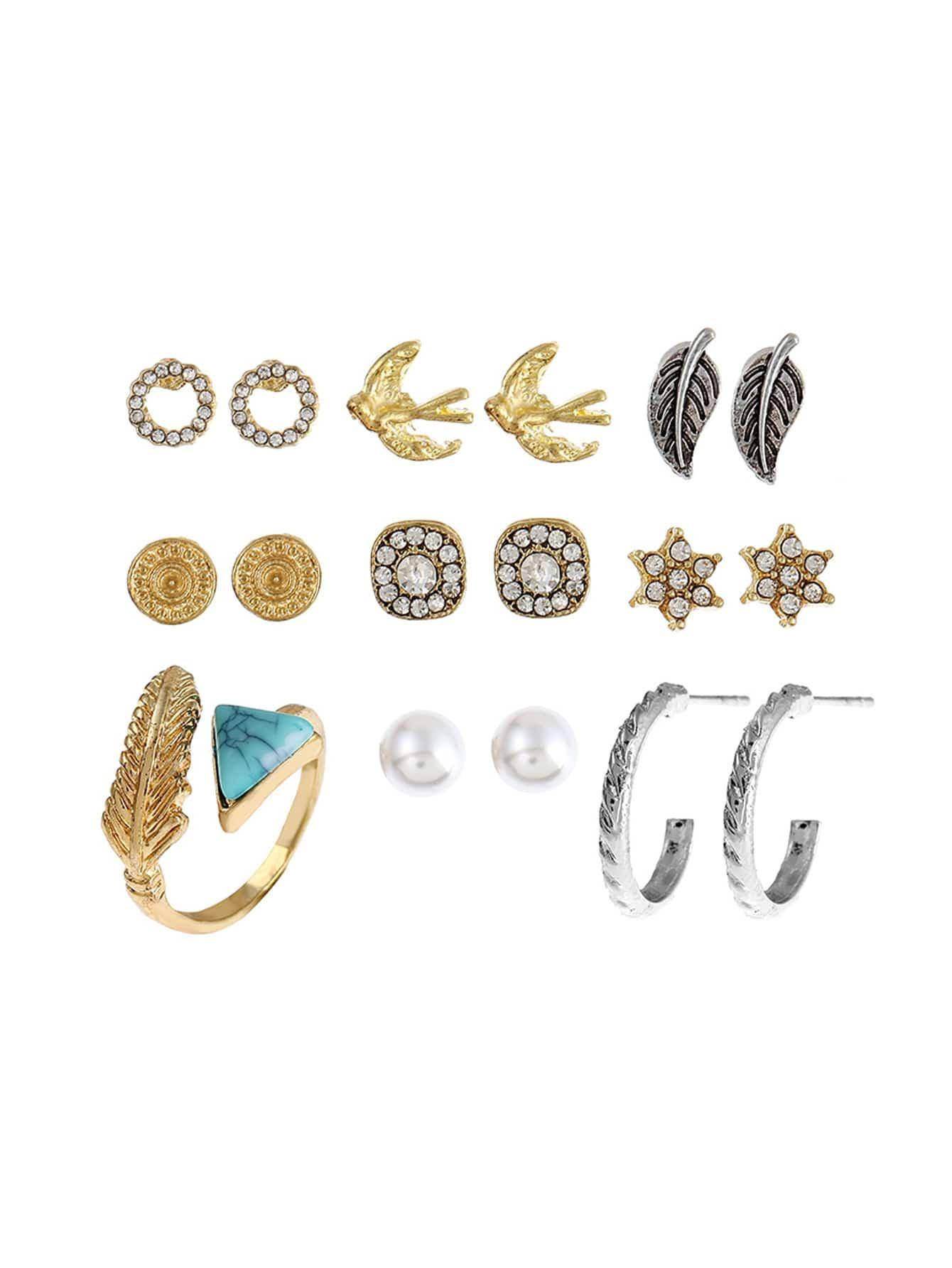 цена на Geometric Shaped Ring & Earring Set With Gemstone