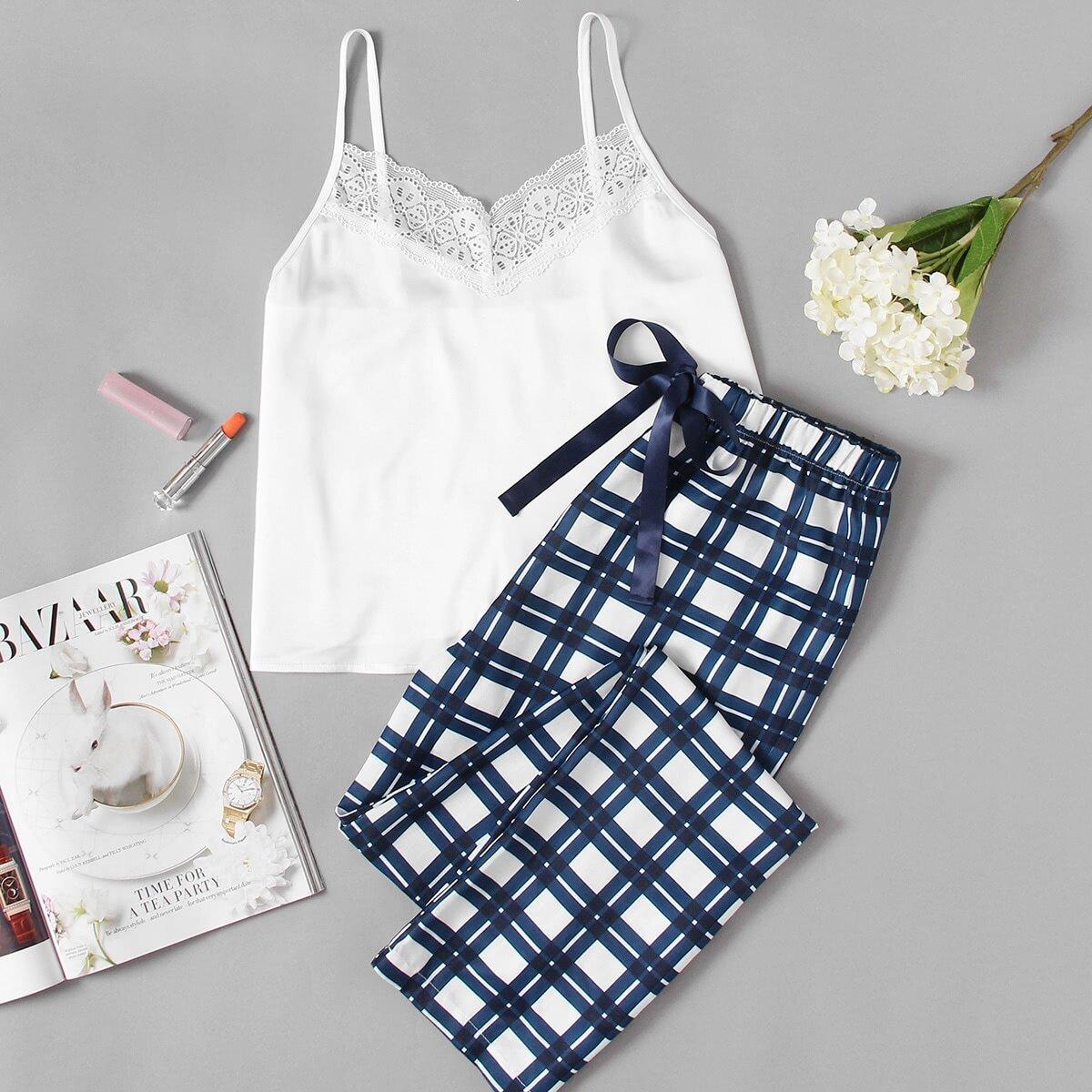 Pyjama set met kant en print