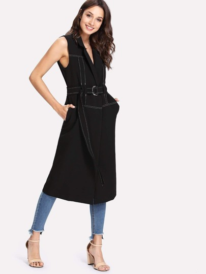 Seam Detail Longline Vest With Belt