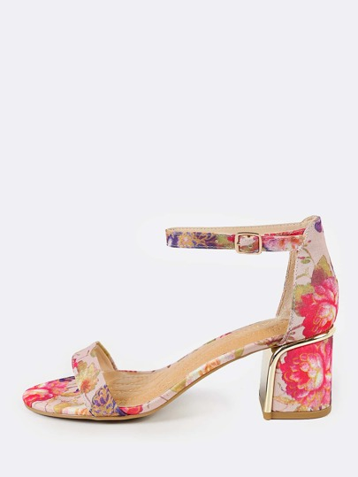 Floral Print Gold Heel Accent Heels BLUSH