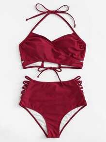 Cross Wrap Strappy Bikini Set