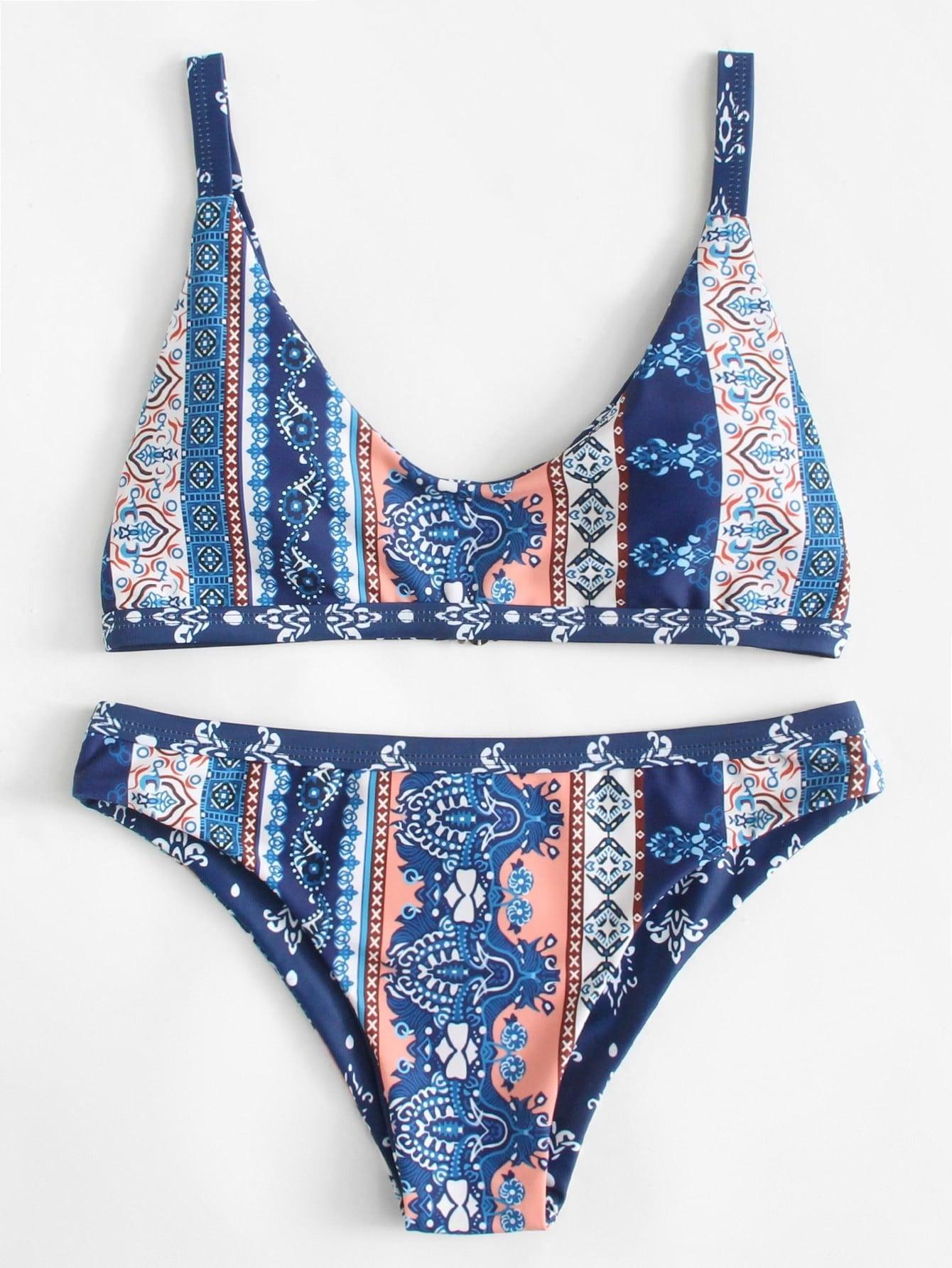 Фото Ornate Print Bikini Set checker knot bikini set