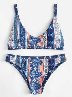 Ornate Print Bikini Set