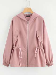 Drawstring Waist Hooded Jacket