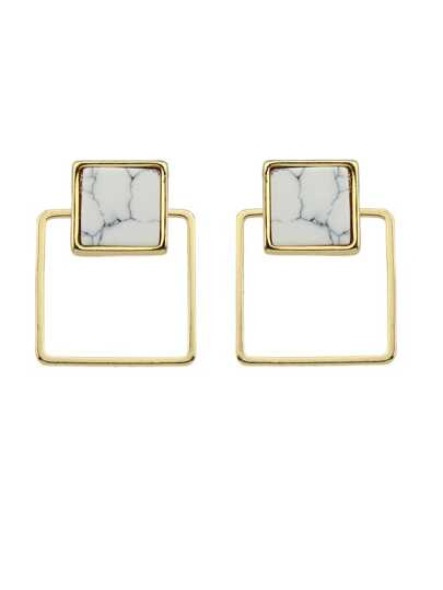 Square Geometric Small Earrings White Marble Stud Earrings