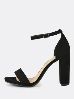 Nubuck Open Toe Block High Heels