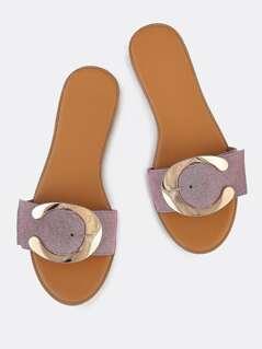 C Buckle Slide Sandals ASH LILAC