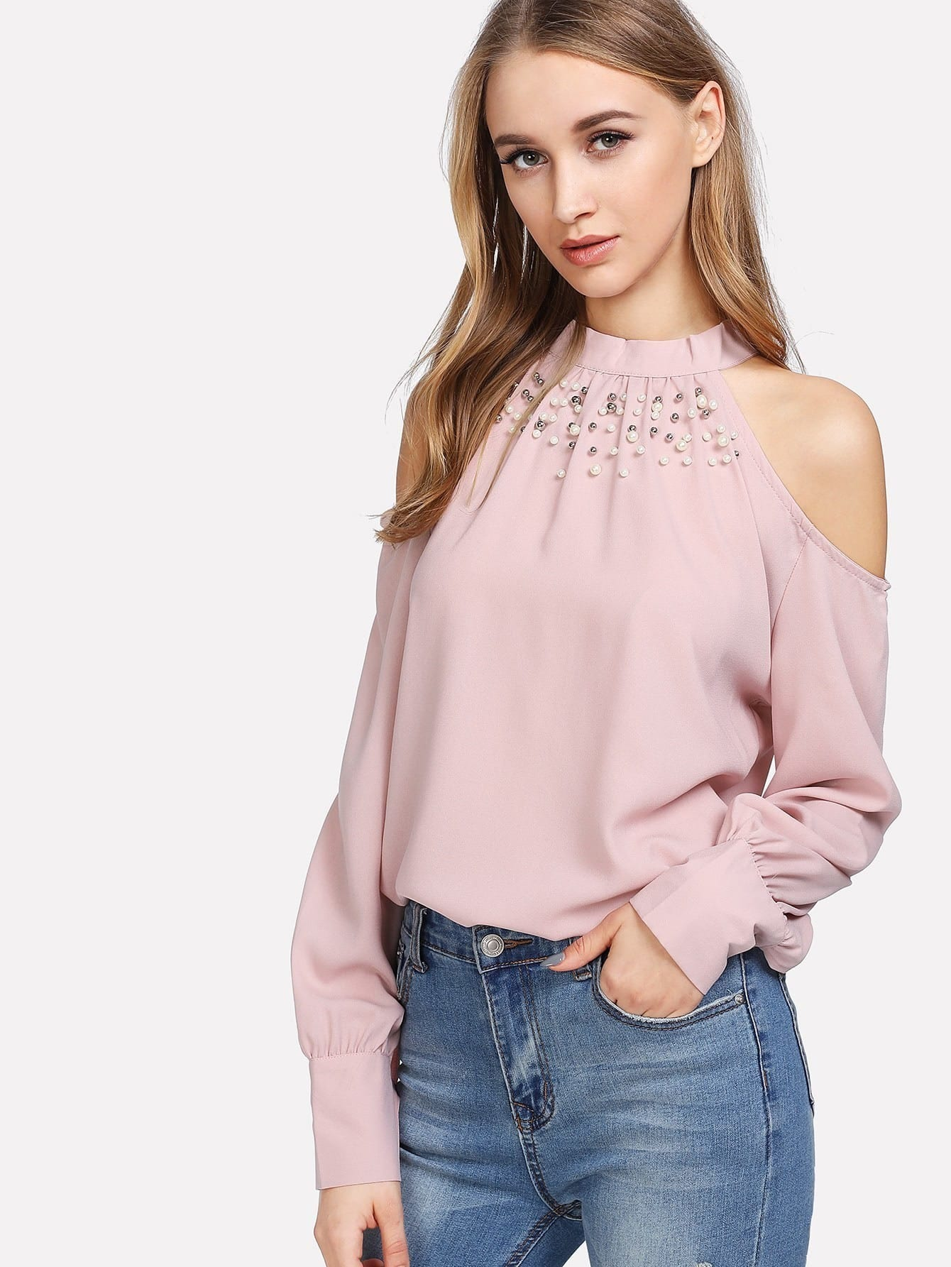 Купить Модная блуза с бантом и открытыми плечами, Lona, SheIn