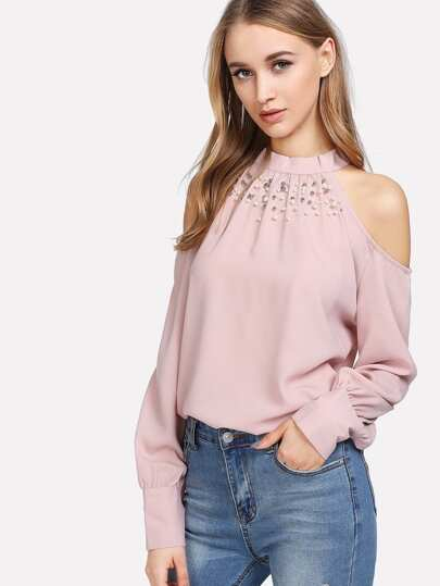 Faux Pearl Open Shoulder Tie Back Blouse