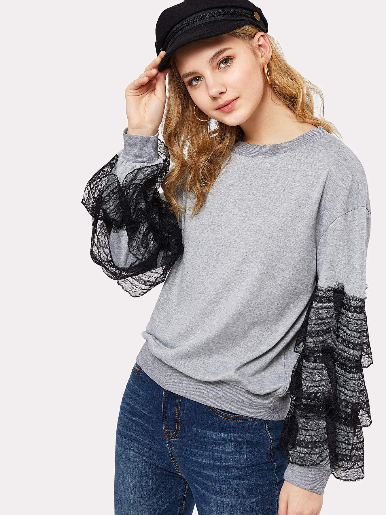 Tiered Lace Trim Marled Pullover кордщетка атака 22384