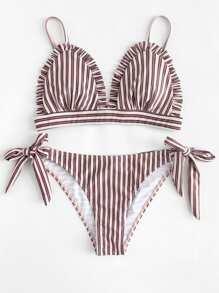 Frill Trim Striped Bikini Set