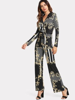 Mixed Print Belted Wrap Jumpsuit