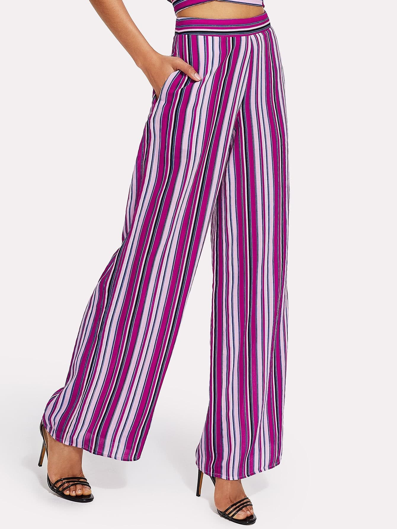 Striped Print Wide Leg Pants все цены