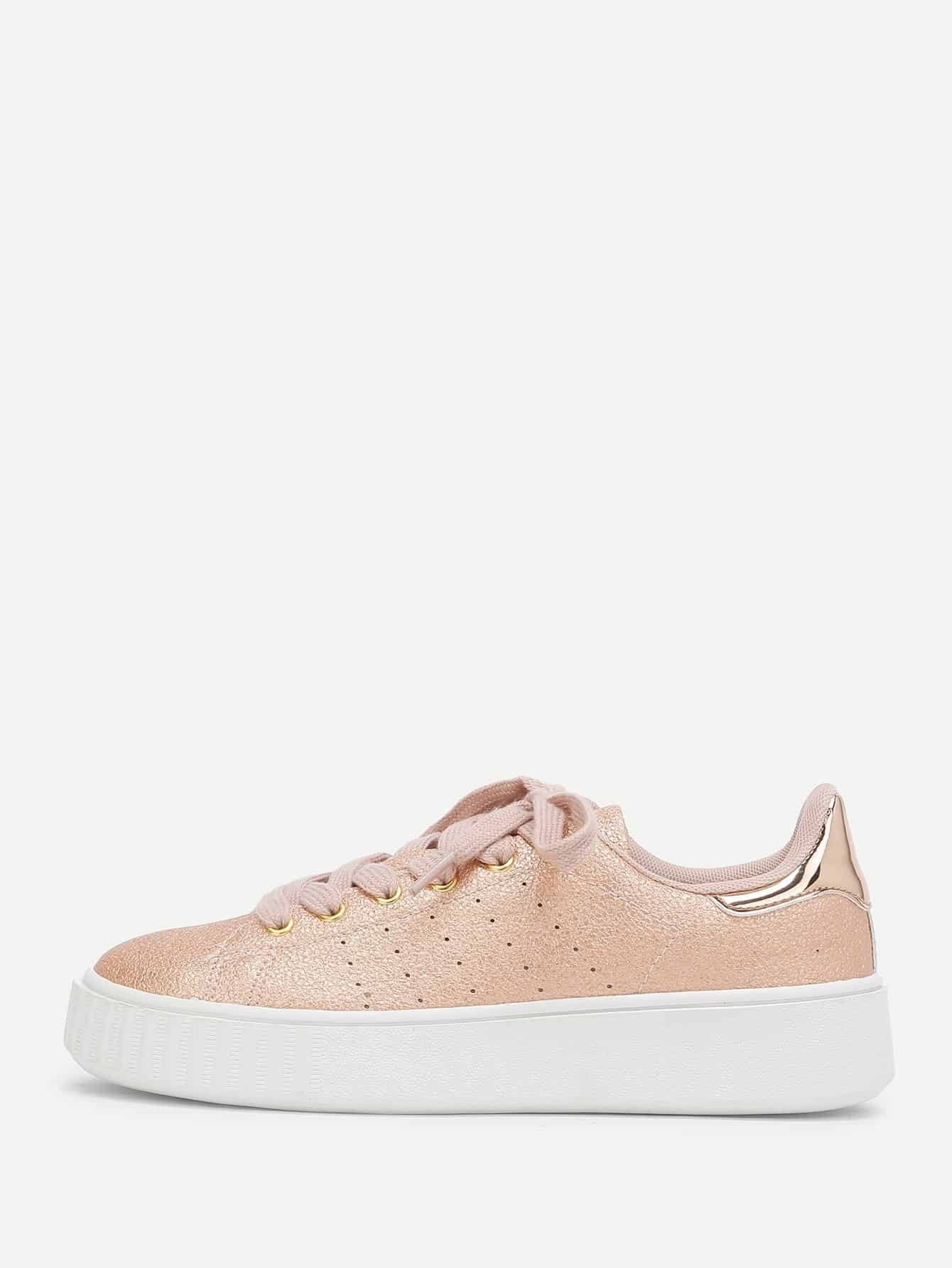 Metallic Lace Up Trainers woven detail lace up trainers