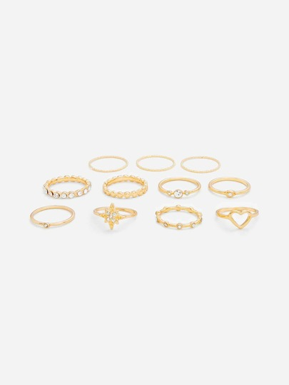 Open Heart Ring Set 11pcs