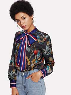 Mixed Print Bow Tie Neck Top