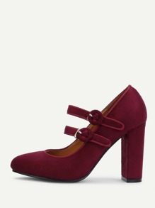Zapatillas de ante con tacón block de punta redonda