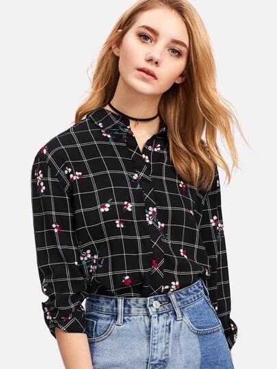 Hidden Button Floral & Grid Blouse