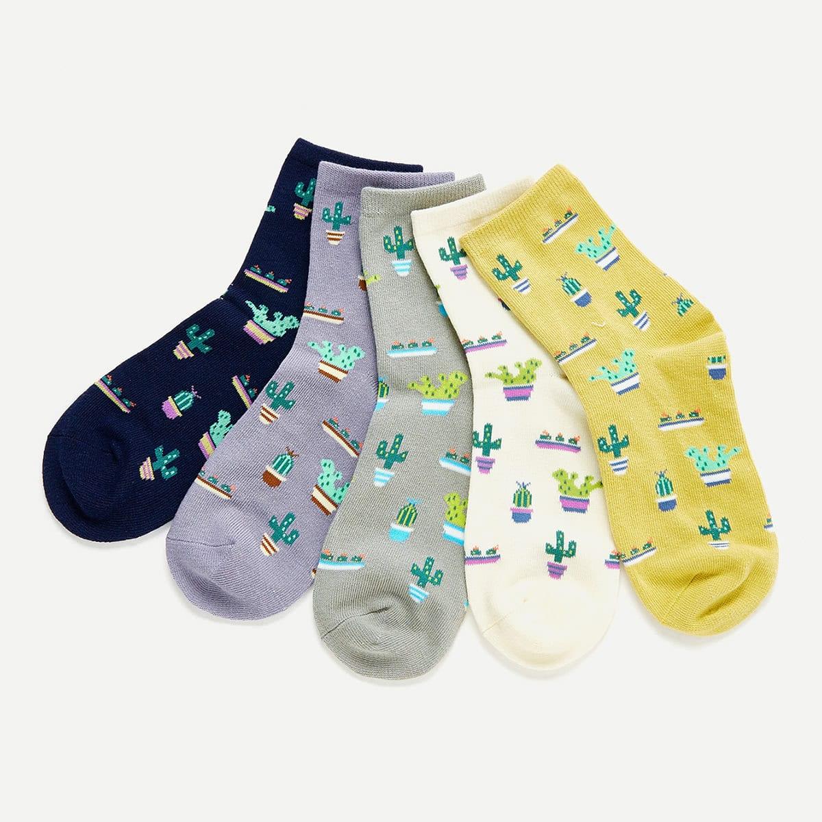 Cactus Print Ankle Socks 5pairs