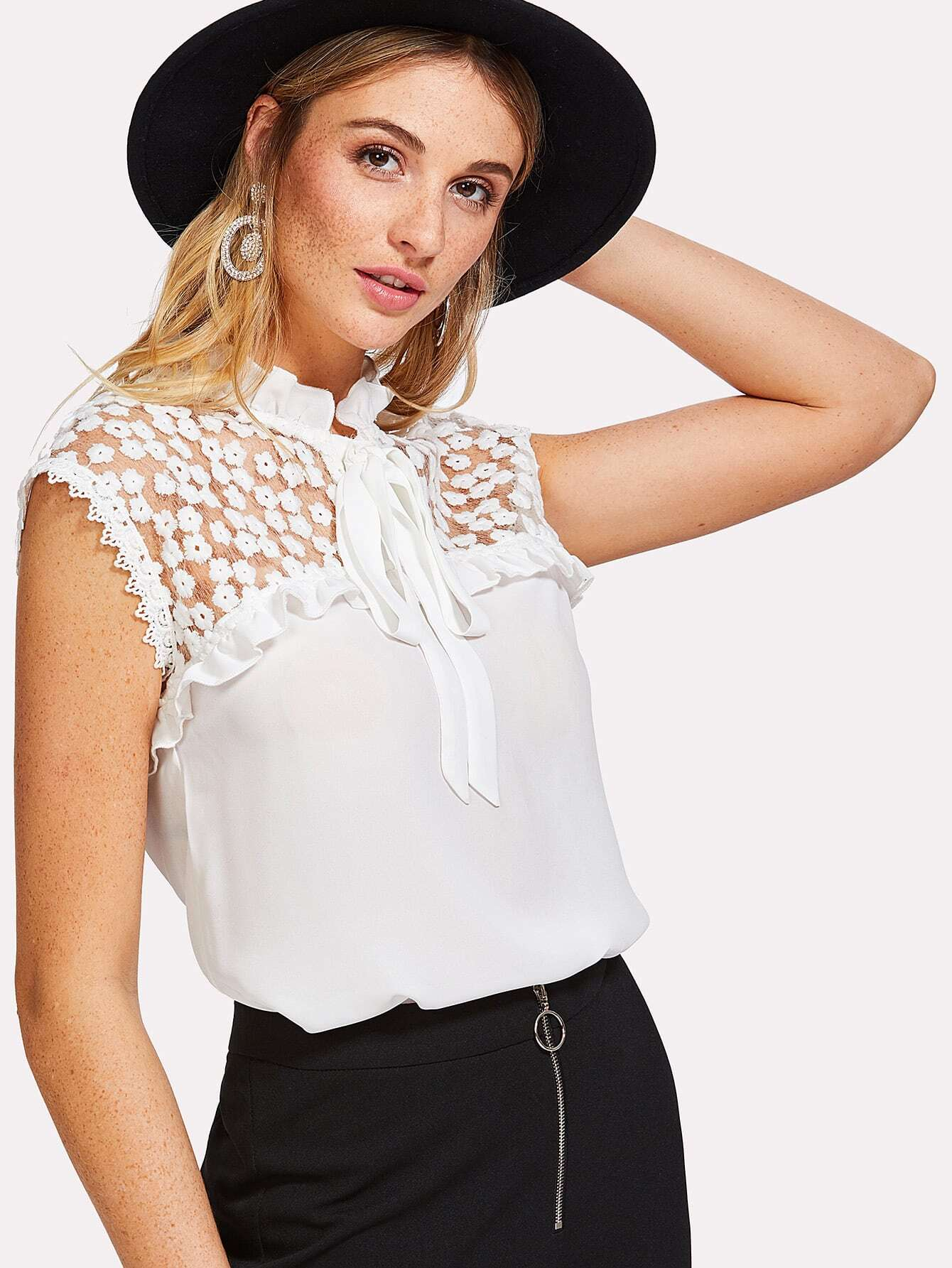 Tie Neck Embroidered Mesh Yoke Sleeveless Top blouse171225702