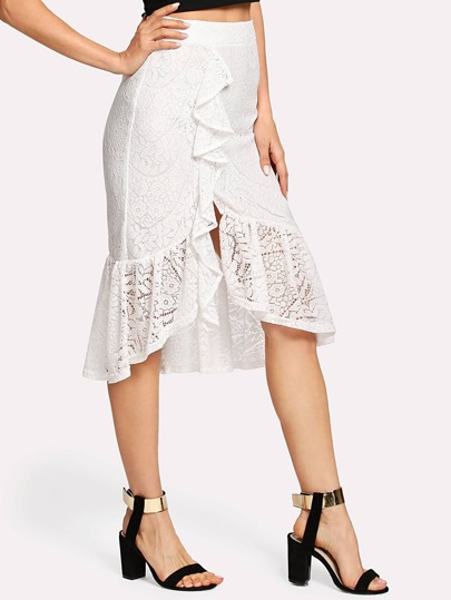 Ruffle Hem Asymmetric Lace Skirt