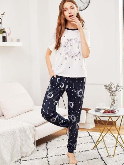 Galaxy Print Tee And Sweatpants PJ Set