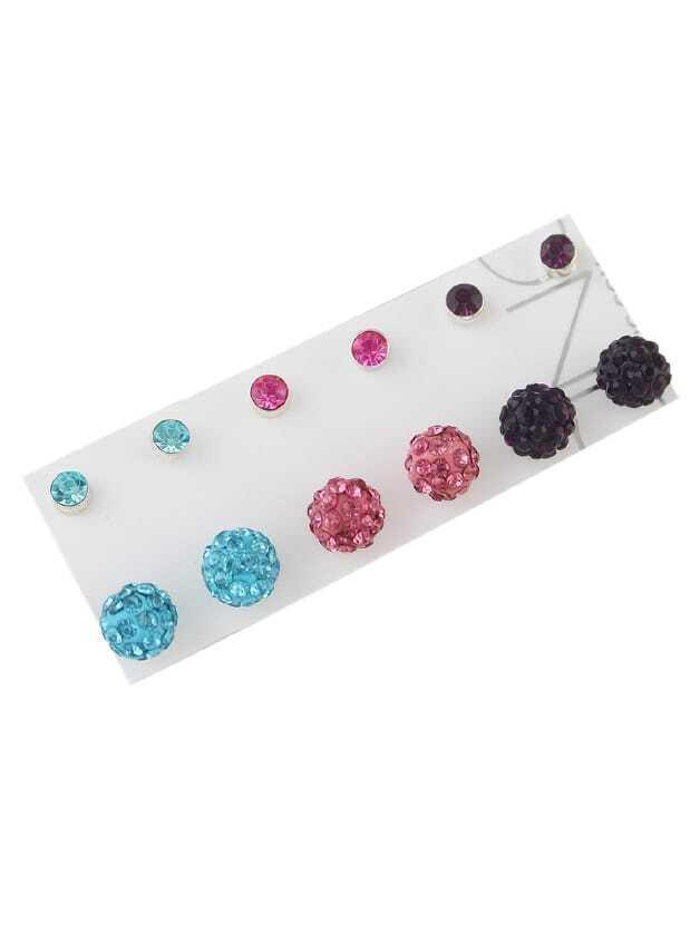 Rhinestone Colorful Ball Earrings Set rhinestone glass ball dry sakura earrings