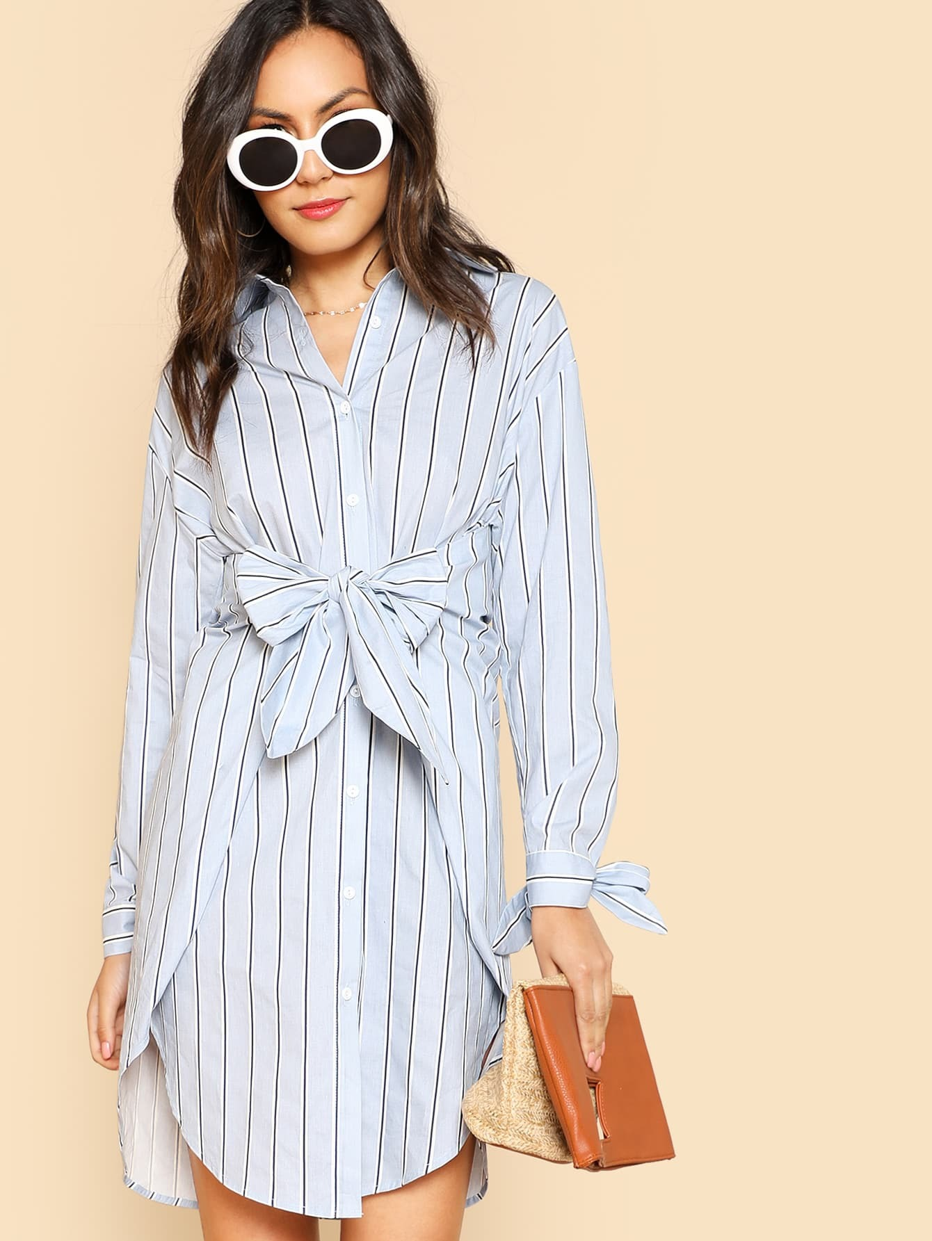 Bow Tied Detail Striped Shirt Dress contrast collar bow tied detail striped dress