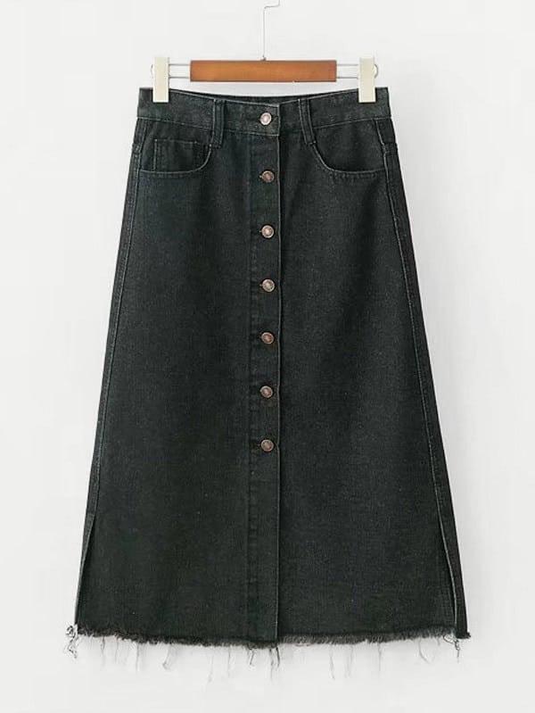Raw Hem Button Up Denim Skirt