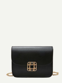 Faux Leather Chain Flap Bag