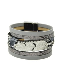 Gray Multilayer Blue Black Pu Leather Wrap Bracelets