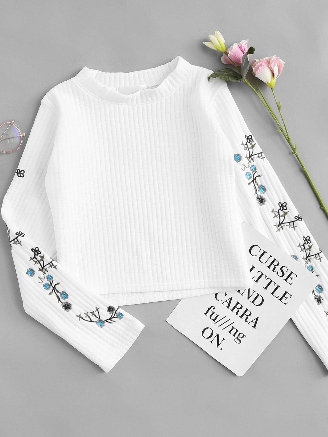 Floral Embroidered Ribbed Top