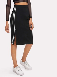 Buttoned Varsity Striped Side Pencil Skirt