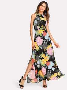 Halter Neck Open Back Split Floral Dress