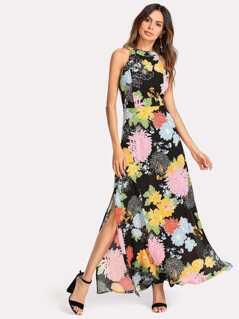 Halter Neck Open Back Split Floral Dress