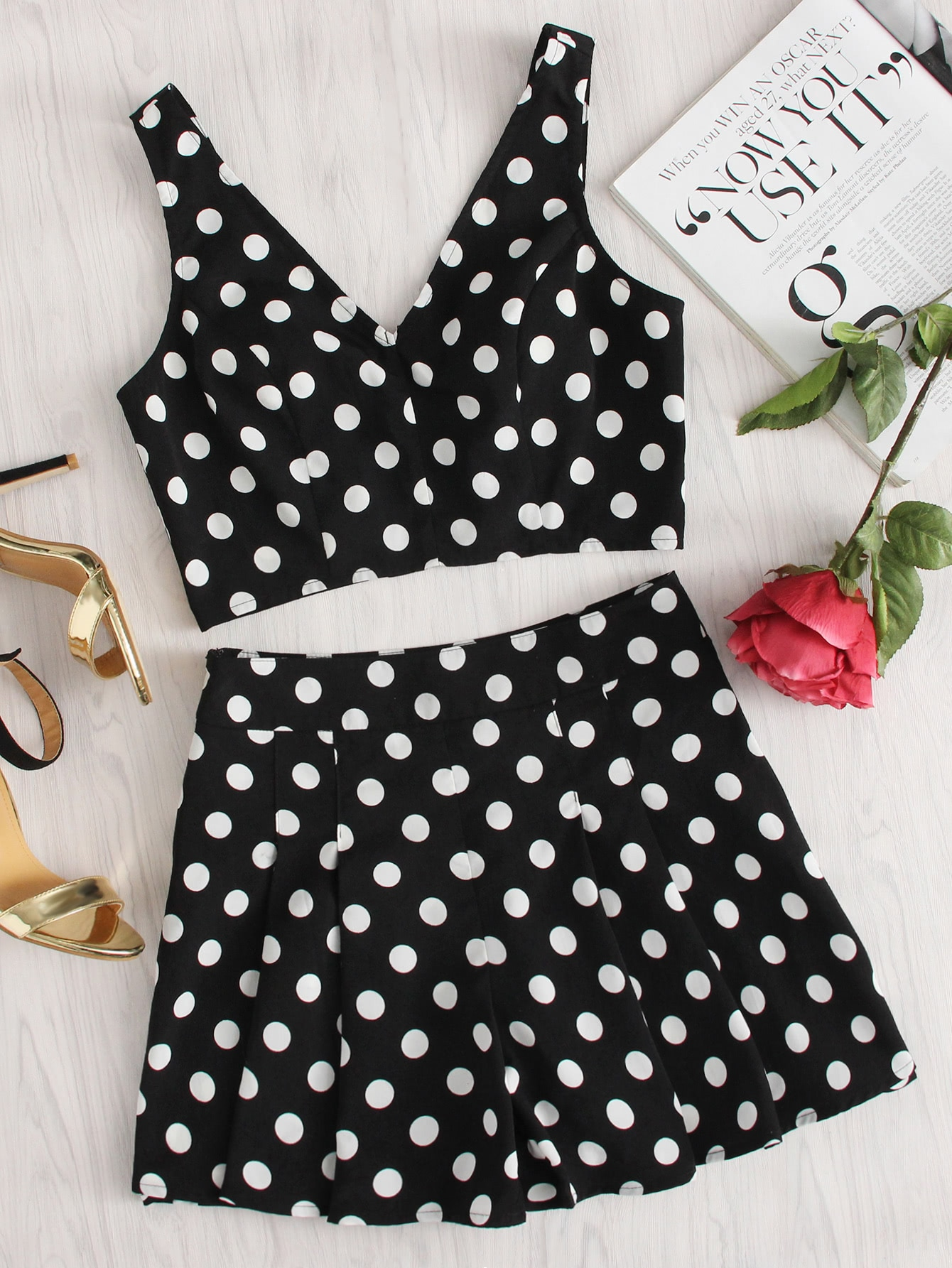 Polka Dot Zip Back Crop Top And Shorts Set zip back fit and flared plaid dress