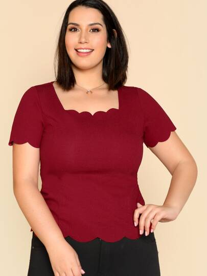 Scalloped Trim Fitted Top