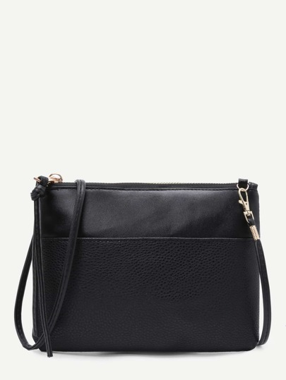 Faux Leather Zip Closure Clutch Bag