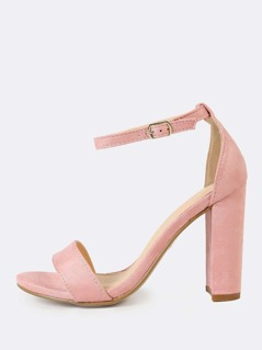 Single Band Open Toe Faux Suede Block Heel with Thin Ankle Strap MAUVE