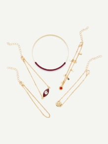 Wrapped Chain Bracelet 5pcs With Eye Charm